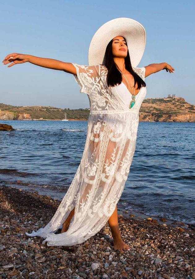 b77164ea4017 Φόρεμα καφτάνι maxi με διαφάνεια   DRESS, 2018   Pinterest   Womens ...
