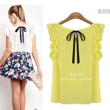 New 2014 Women's Blouse Chiffon Shirt O-neck Lotus Leaf Pullover Lacing  Free Shipping(China (Mainland))