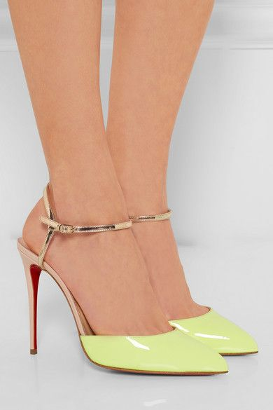 Christian Louboutin | Rivierina 100 color-block patent-leather pumps | NET-A-PORTER.COM