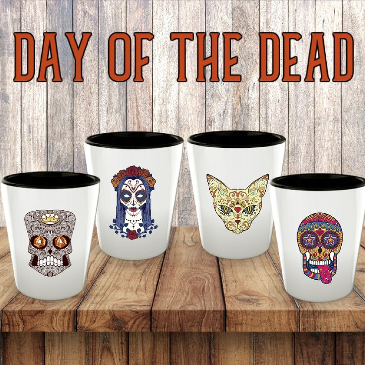 Sugar Skulls Shot Glass Set Day of the Dead Shot Glasses Dia de los Muertos Sugar Skull Glass Skull Shot Glass Halloween Party Decor Novelty by Mugnolia on Etsy #halloween2017 #dayofthedead