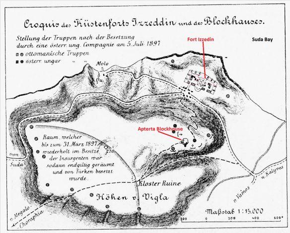 Aptera Blockhouse. Austro-Hungarian map 1897.