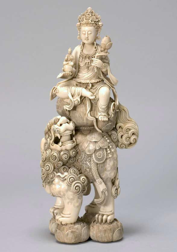 Japanese Ivory Figure of Seated Guan Yin, 19th Century Height 13 inches