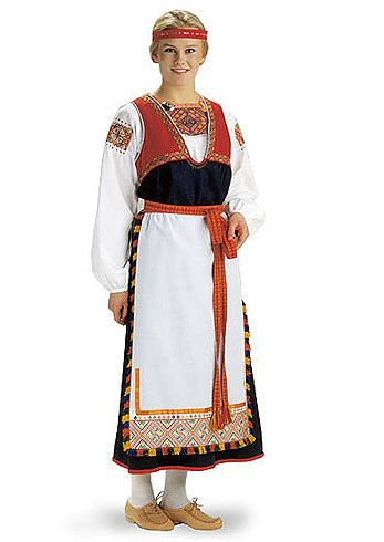 The traditional woman´s dress of Tuuteri, a region in Karelia and part of former Finland. Today belonging to Russia. Material kit from the Finnish crafts shop Helmi Vuorelma Oy