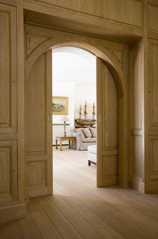 "Oak sliding double pocket doors (""Fancy pants"" doors). Beautiful."