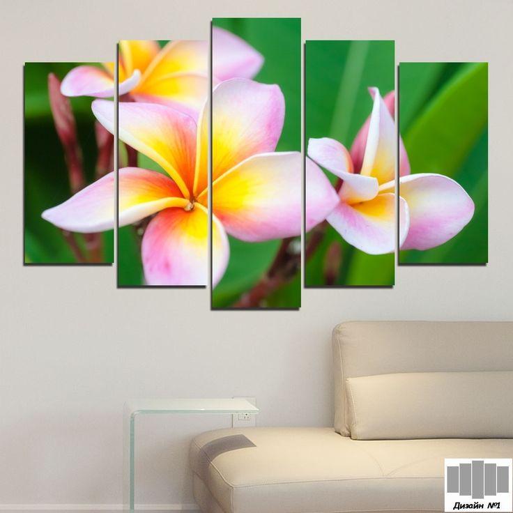 Декоративно пано за стена от 5 части с розова Плумерия - HD-201