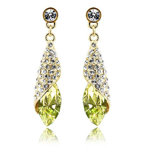 Free Shipping High Quality Luxury Crystal 18K Gold Plated Jewelry Making Earrings $13.88