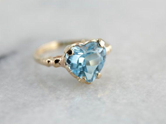 Bague topaze bleue en pierre précieuse jaune or, beau et lumineux en forme de coeur! MTF6UW-D