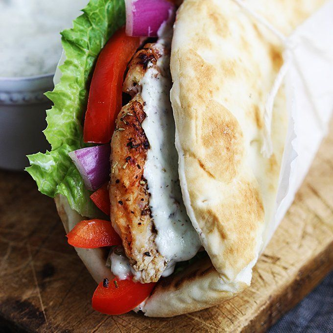 Greek-style chicken gyros and Tzatziki sauce