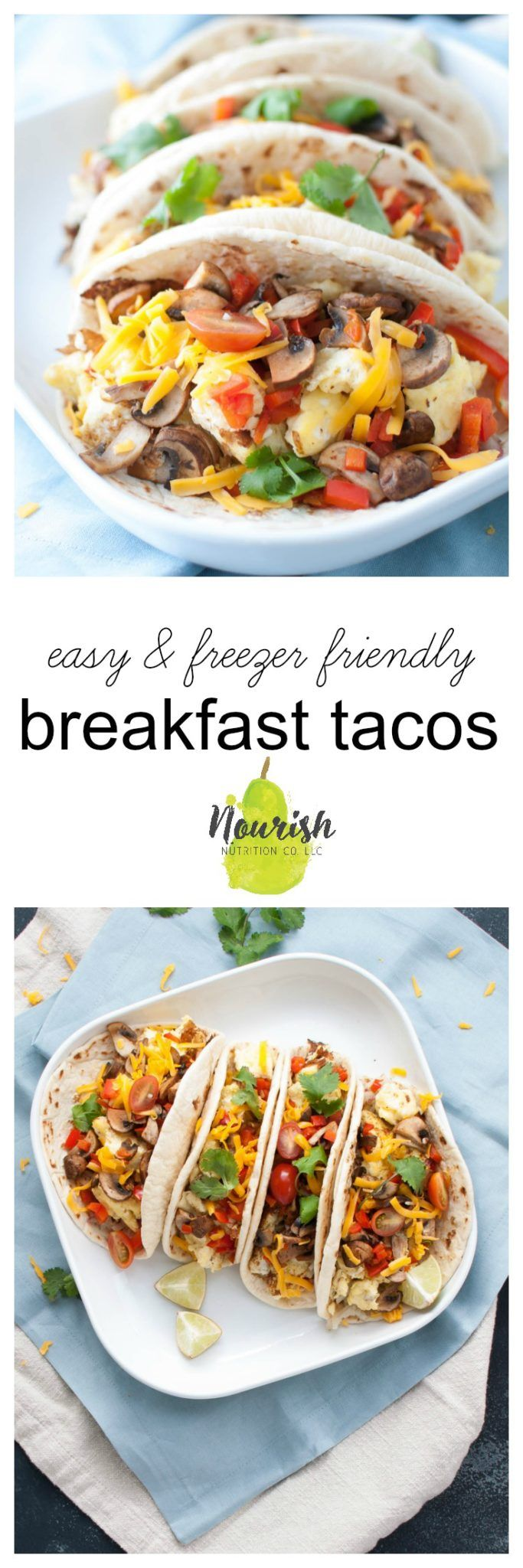 The Easiest Breakfast Tacos Recipe   eggs, vegetables, and potatoes rolled up to be frozen for easy weekday breakfasts or enjoyed on a relaxing morning, pop them into the freezer for your go-to breakfast burrito   www.nourishnutritionblog.com via @nourishnutrico