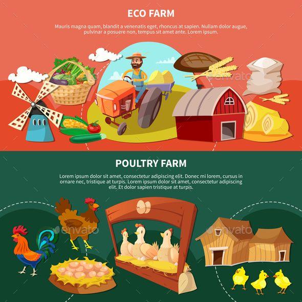 Two Farm Cartoon Banner Set - Vector EPS