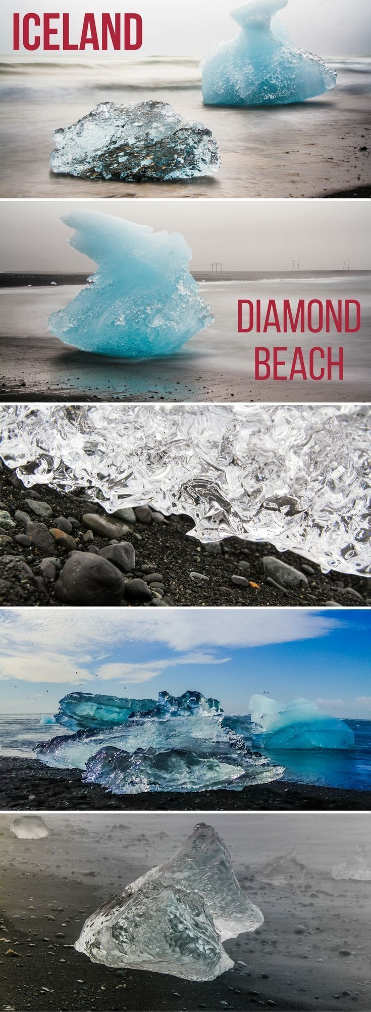 Iceland Travel - Discover the magnificent Jokulsarlon beach Iceland also known as Diamond Beach because the icebergs wash up on the black sand beach and sparkle like diamonds! Many photos in the article and info to plan your visit : https://www.zigzagonearth.com/jokulsarlon-iceberg-beach-iceland/ | Iceland Travel Tips | Iceland scenery | Iceland Itinerary | things to do in Iceland