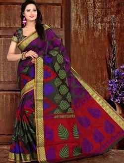 Casual Wear  Multi Colour Art Silk Printed Saree