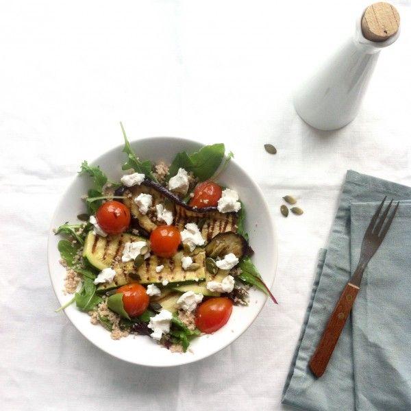 » Salade van gegrilde aubergine en courgette met spelt couscous