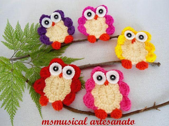 corujas em croche: Apliqu Crochê, Crochet Ideas, Gufetti Crochet, Owl Crochet Patterns, Owl Tutorials, Quaver, Crochet Owl, Pap Coruja, Wall Hook