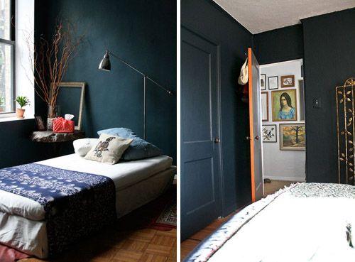 navy bedroom paint from httpwwwmintdesignblogcom - Niedliche Noble Schlafzimmerideen