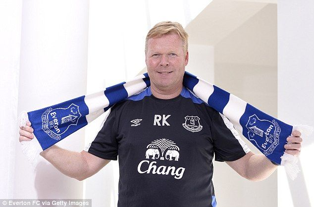 June 2016: Ronald Koeman poses with an Everton scarf after being announced as the new manager...