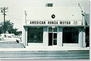 How cool! In October 1946, Soichiro Honda established the Honda Technical Research Institute in Hamamatsu, Japan, to develop and produce small 2-cycle motorbike engines. Two years later, Honda Motor Company, Ltd. was born, and in 1959 Honda opened its first storefront in Los Angeles with six industrious employees. credit:http://corporate.honda.com/america/history.aspx