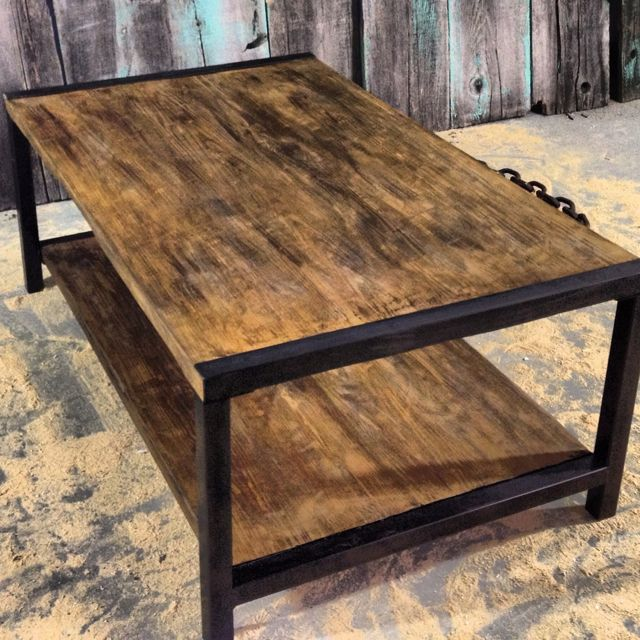 Reclaimed Wood Coffee Table With Metal Trim