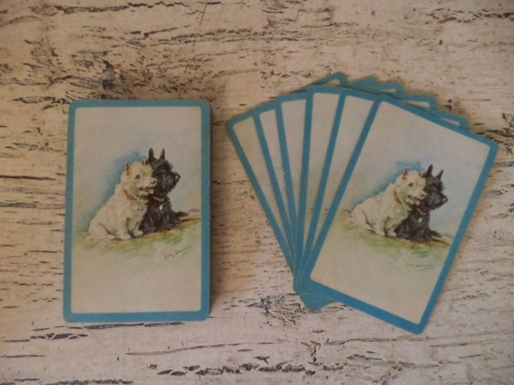 Vintage Playing Cards - Black and White Scotty Dogs  - Pinochle Cards for Mixed Media and Crafts by Thebeezkneezvintage on Etsy