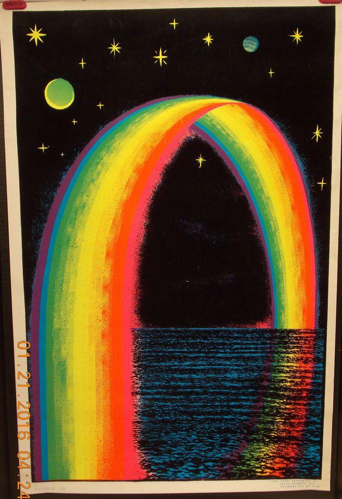Vintage Black Light Poster Velvet Rainbow Ocean Planets Stars Retro Made in USA | eBay
