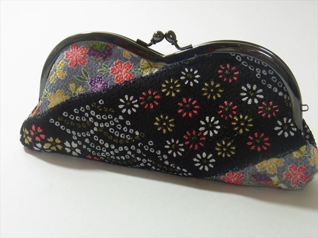 Japanese Kawaii Kimonofabric eyeglasses case(GAMAGUCHI)Diagonal Stripe with Flower and Butterfly on Black by chirimenbunny on Etsy