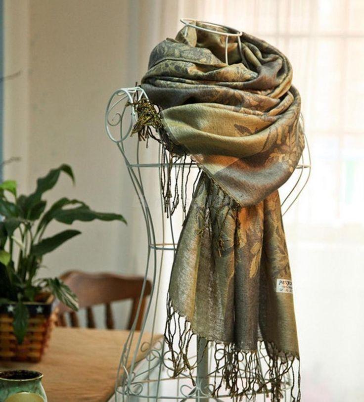 Womens Winter Pashmina Cashmere Shawl Long Ladies Scarf Wrap Floral Pashmina…