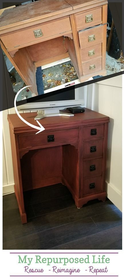 vintage sewing desk as kitchen storage and t v stand diy home rh pinterest com