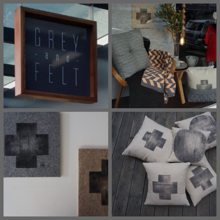 In window at Grey and Felt, Sandy Bay, Tasmania.  ➕one industrial collection felt-on-ply artworks + organic linen/cotton cushion collection: eco friendly fabric paint: limited edition: individually hand-painted + handmade by Claire Webber, Hobart, Tasmania Email webberclaire1@gmail.com