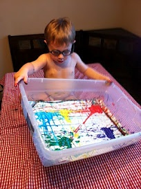 Marble Painting. A standard toddler art project that will keep them occupied