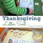 Thanksgiving Letter Sorting {free printable!}