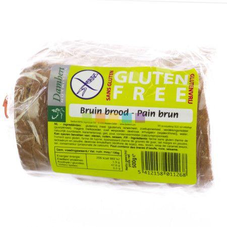 Damhert Bruin Brood Glutenvrij: Bruin brood in sneetjes, geschikt voor een glutenvrij dieet.