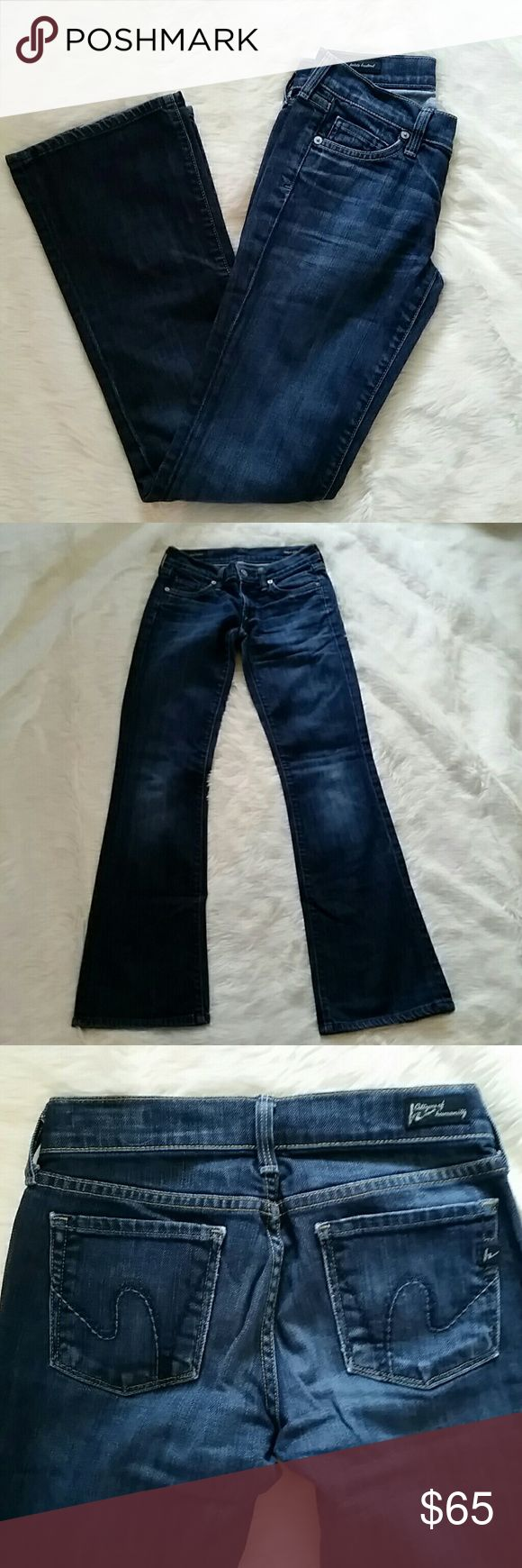 Citizens of Humanity Dita Petite Bootcut Super cute Citizens of Humanity Dita Petite Bootcut jeans.  A little wear on the back bottoms of the legs (pic 4) but otherwise excellent condition.  The inseam is 29 inches with a rise of 7.5 inches Citizens of Humanity Jeans Boot Cut