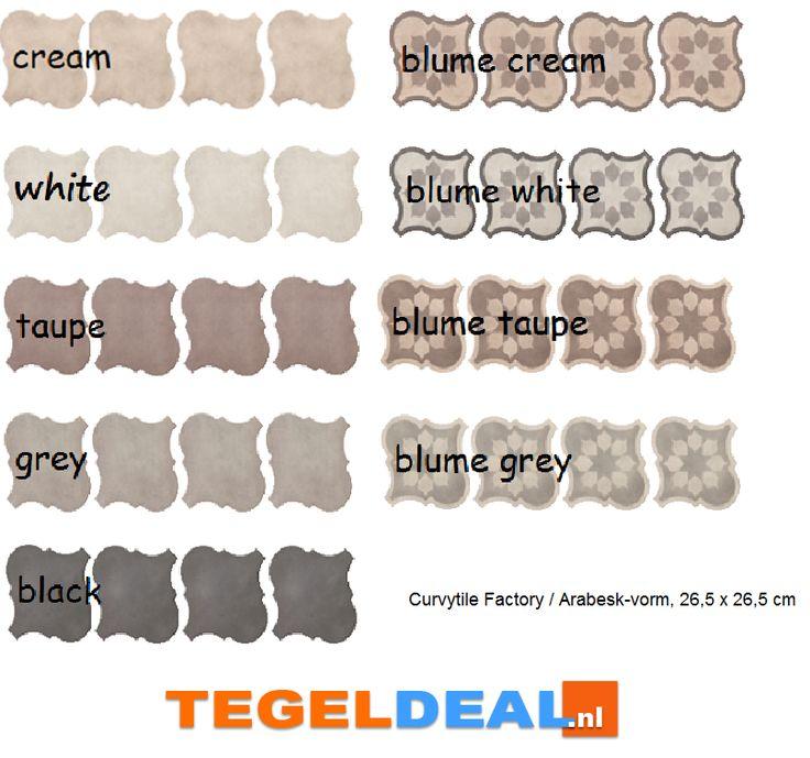 Tegels Limburg - Vloertegel Arabesque / Arabesk, Curvytile Factory, div. kleuren en patronen, 26,5 x 26,5 cm - Tegeldeal.nl