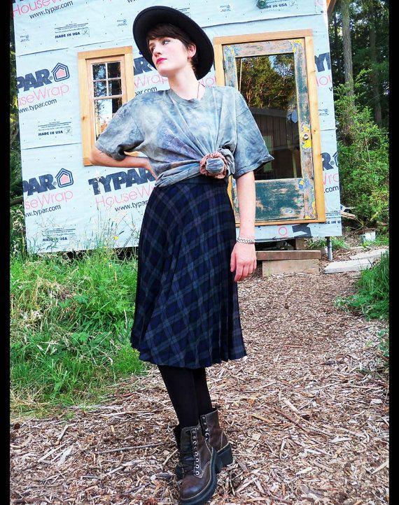 50s 60s PREPPY PLAID Pleated Skirt, xs. $24.00, via Etsy.