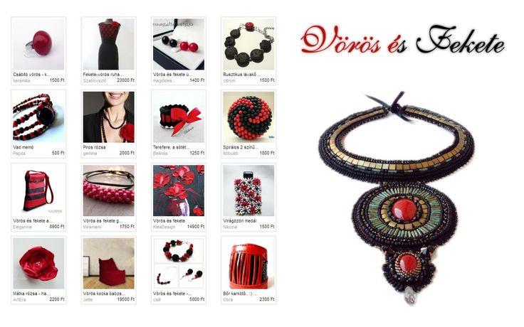 Vörös és #fekete Manumo szemezgetője. Illusztráció: Pankagyongye - Gyöngyhízett nyaklánc vörös jádéval http://www.meska.hu/ProductView/index/808640