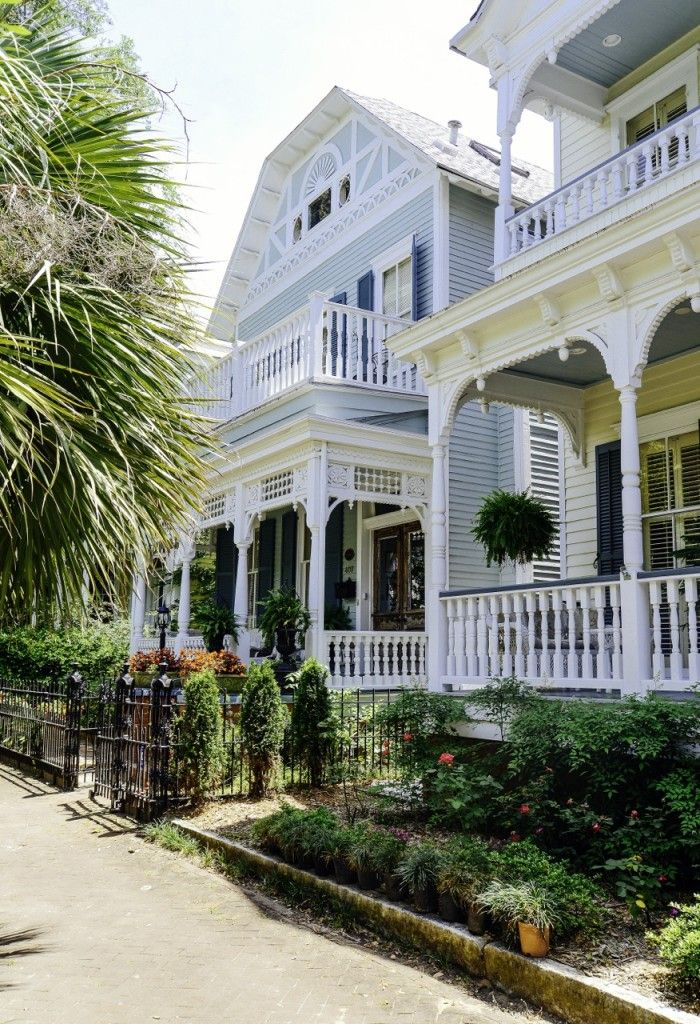 Beautiful homes side by side in Savannah, Georgia.