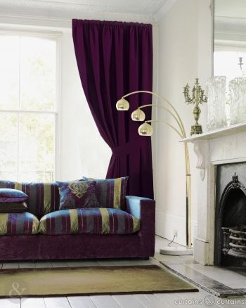 Rich aubergine purple pencil pleat #curtains