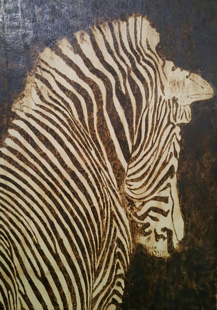 Zebra pyrography by hady al hayek