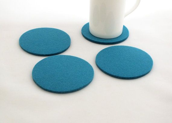 Turquoise Coasters Wool Felt Fabric Coasters, Table Mat, Set Of 4 Round Coasters, Home Decor Tableware Eco-Friendly Coasters, Party Coasters
