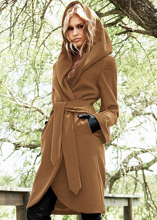 Brown Hooded wrap coat from VENUS. Sizes 2-14!