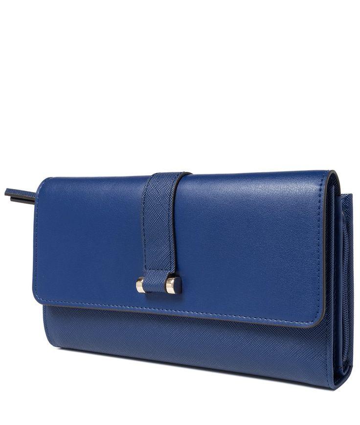Синий кожаный женский кошелек