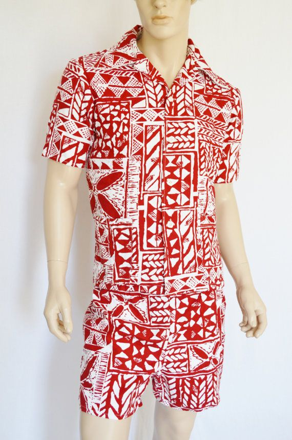 Vintage 1960 39 S 70 39 S Men 39 S Jantzen Hawaiian 2 Pc Shirt