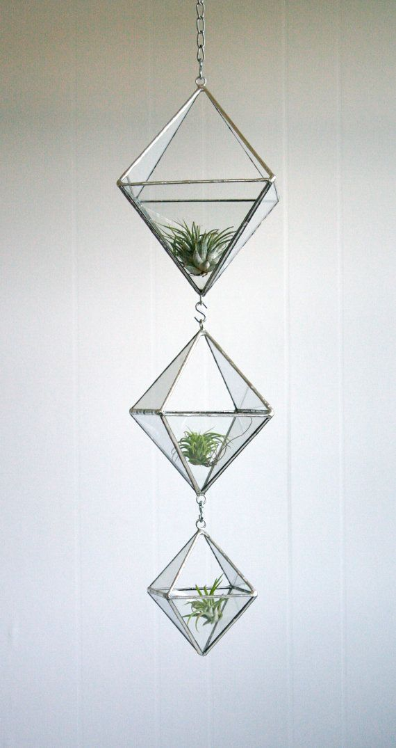 Terrarium, Stained glass hanging terrarium, geometric triple tiered diamond, eco-friendly recycled glass on Etsy, $115.00