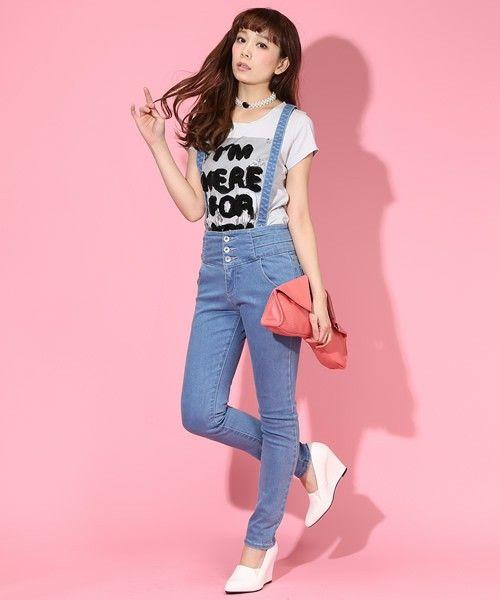 サスペンダー付きハイウエストデニムスキニーパンツ♡ ハイウエストスカート・パンツ スタイル ファッション コーデ♪