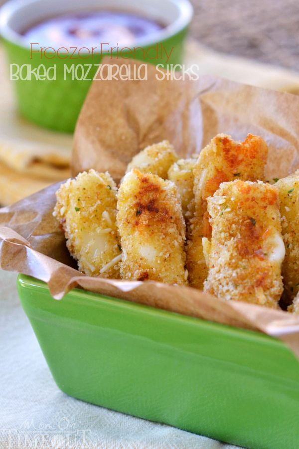 These Freezer-Friendly Baked Mozzarella Sticks are perfect for after-school snacks, late night munchies, and game day!