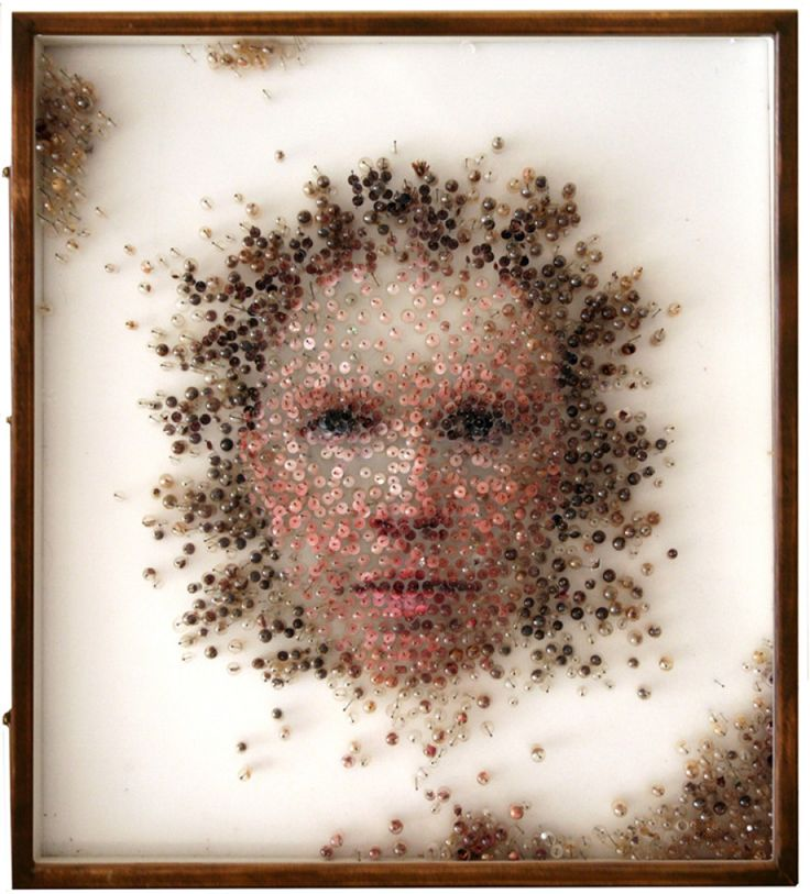 Michael Mapes, FEMALE SPECIMEN No.B, 2011, (photographic prints, dried botanical matter, hair, grains, teeth, coffee, tobacco, glass vials, gelatin capsules, insect pins, pinning foam)