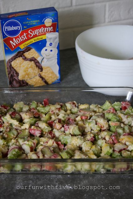 """Rhubarb recipe with 5 ingredients - I made this last night and it's wonderful! 1 egg 4 Tbsp flour (GF works fine) 4-5 c rhubarb chopped Mix above in bowl, place in greased glass pan. Sprinkle yellow cake mix (GF is fine) over top of this. Melt 1.5 sticks of butter and pour over the top. 350° for 40-45"""". would be good with cinnamon/sugar on top, too."""