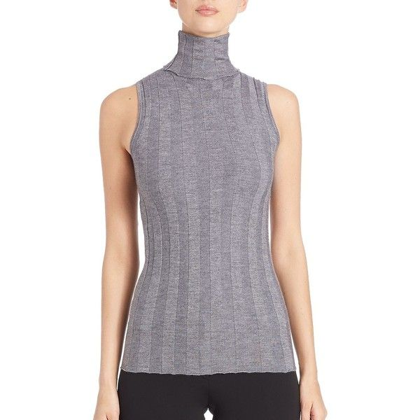 Derek Lam Ribbed Sleeveless Turtleneck Top ($650) ❤ liked on Polyvore featuring tops, sweaters, apparel & accessories, fitted turtleneck sweater, long turtleneck sweater, long sleeveless sweater, pullover sweater and sleeveless turtleneck