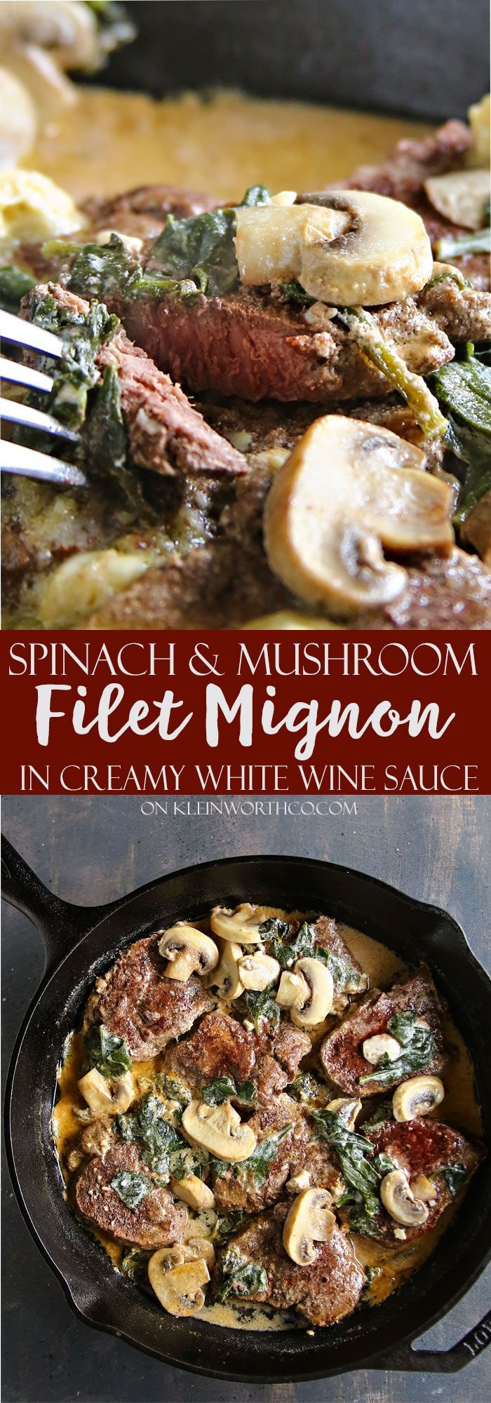 Spinach Mushroom Filet Mignon in Creamy White Wine Sauce made with the most tender, premium cut of beef loin. A simple dinner that has the WOW factor! via @KleinworthCo