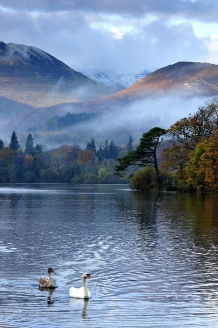 Over Derwent Water from the Keswick Jetties, Lake District, England                                                                                                                                                      More